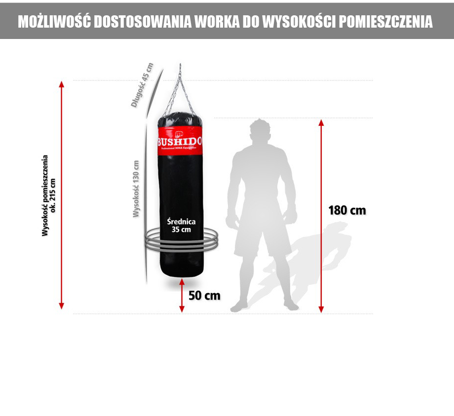 wysokość worka treningowego, bokserskiego
